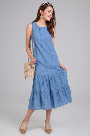 Restocked* Isabelle Eyelet Tier Dress in Blue