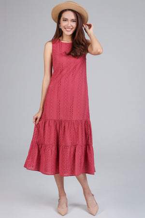 Restocked* Isabelle Eyelet Tier Dress in Rose