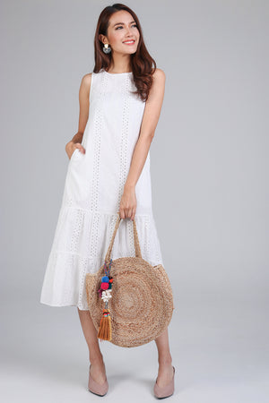 Restocked* Isabelle Eyelet Tier Dress in White
