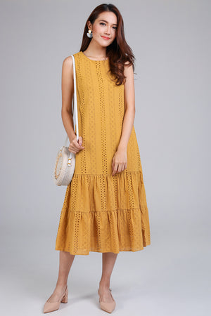 Restocked* Isabelle Eyelet Tier Dress in Yellow