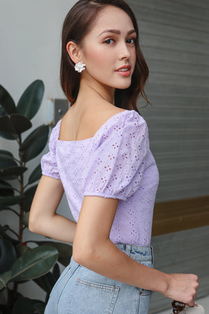 Backorder* Sara Eyelet Top in Lilac
