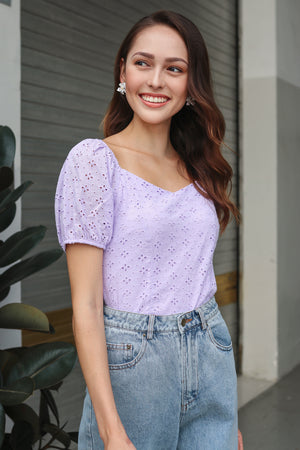 Restocked* Sara Eyelet Top in Lilac