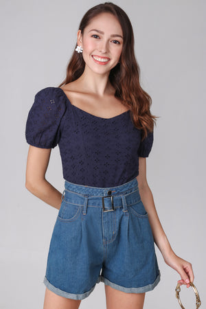 Sara Eyelet Top in Navy