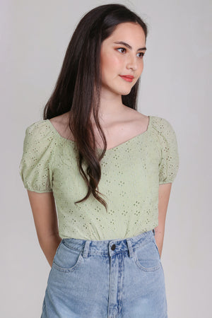 Restocked* Sara Eyelet Top in Sage