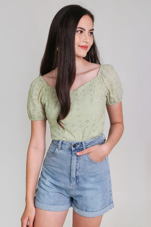 Sara Eyelet Top in Sage