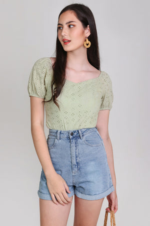 Backorder* Sara Eyelet Top in Sage