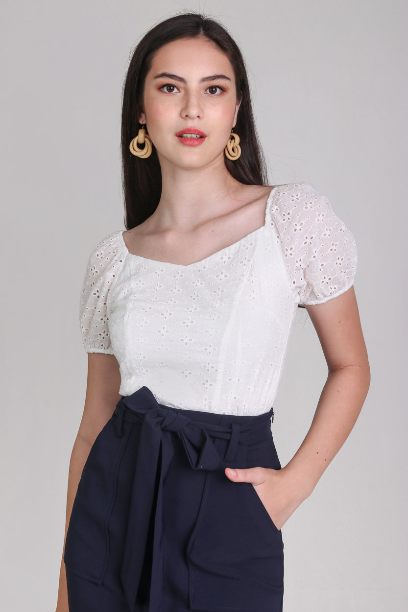 Restocked* Sara Eyelet Top in White