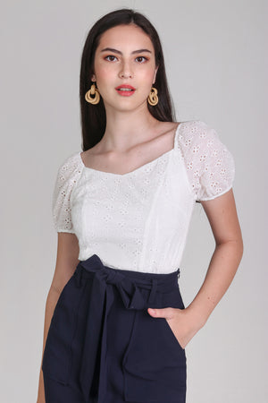 Backorder* Sara Eyelet Top in White