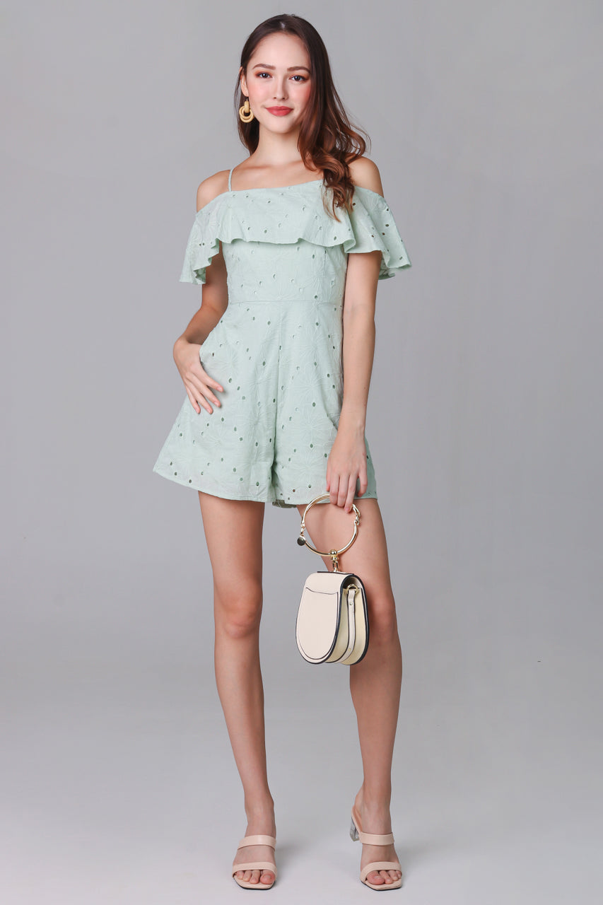 Giselle Eyelet Playsuit in Mint