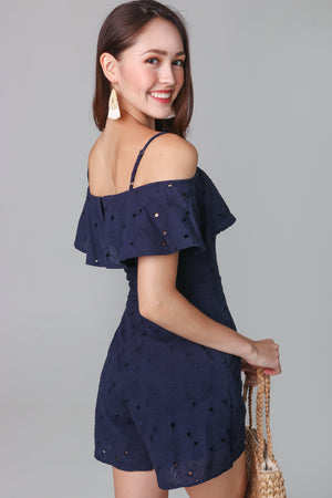 Giselle Eyelet Playsuit in Navy