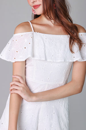 Giselle Eyelet Playsuit in White