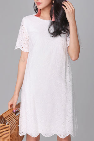 Cora Eyelet Shift Dress in White