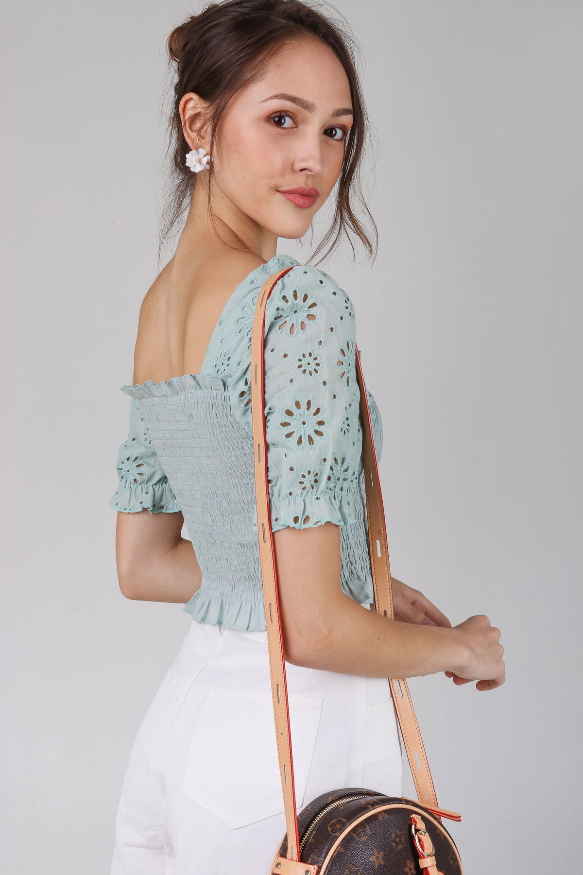 Sunburst Eyelet Top in Mint