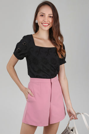 Raquel Eyelet Tee Top in Black