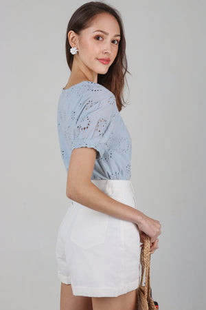 Raquel Eyelet Tee Top in Sky