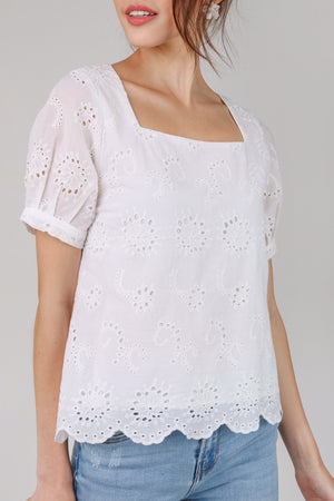 Raquel Eyelet Tee Top in White