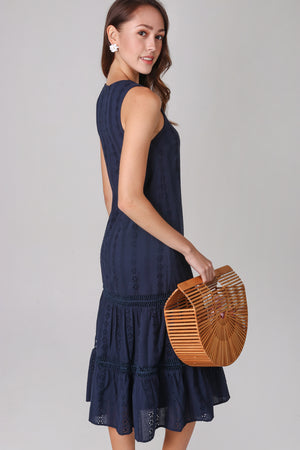 Aria Eyelet Midi Dress in Navy