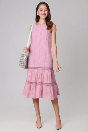 Aria Eyelet Midi Dress in Pink