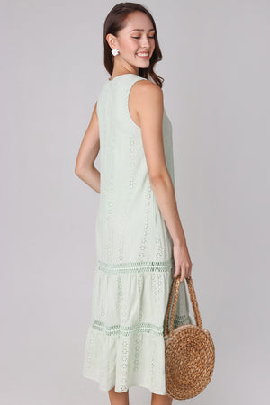 Aria Eyelet Midi Dress in Sage