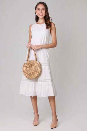 Aria Eyelet Midi Dress in White