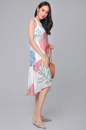 Fern & Circle Drophem Dress in Pink Blue