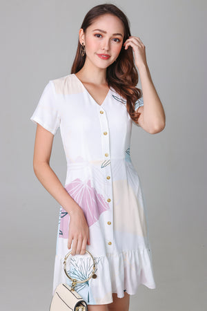 Fern & Circle Shirt Dress in Mauve White