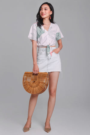 Fern & Circle Tie Top in Sage Nude