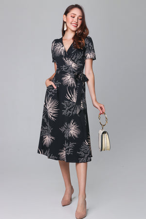 Willows Midi Wrap Dress in Black