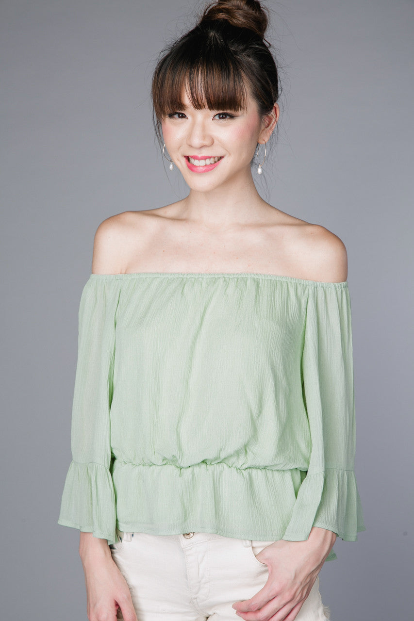 Fiji Off-Shoulder Top in Jade
