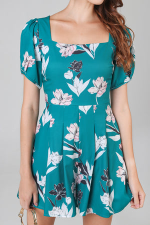 Gemma Floral Square Neck Romper in Forest