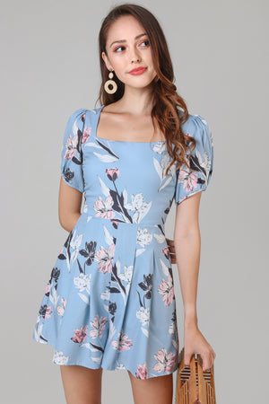Gemma Floral Square Neck Romper in Blue