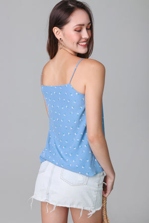 Primrose Floral Trapeze Top in Blue (Reversible)