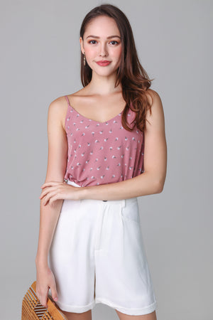 Primrose Floral Trapeze Top in Pink (Reversible)