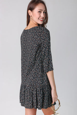 Gwen Floral Babydoll Dress in Black