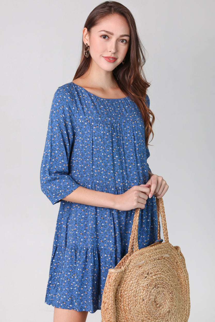 Gwen Floral Babydoll Dress in Blue
