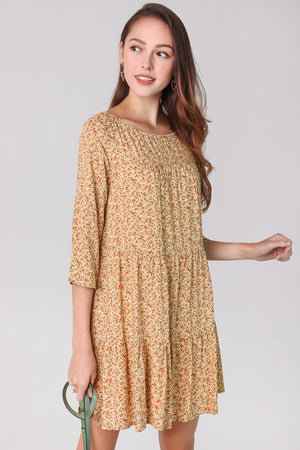 Gwen Floral Babydoll Dress in Yellow