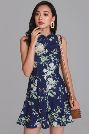 Floral Delight Cheongsam Romper in Navy