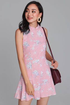 Floral Delight Cheongsam Romper in Pink