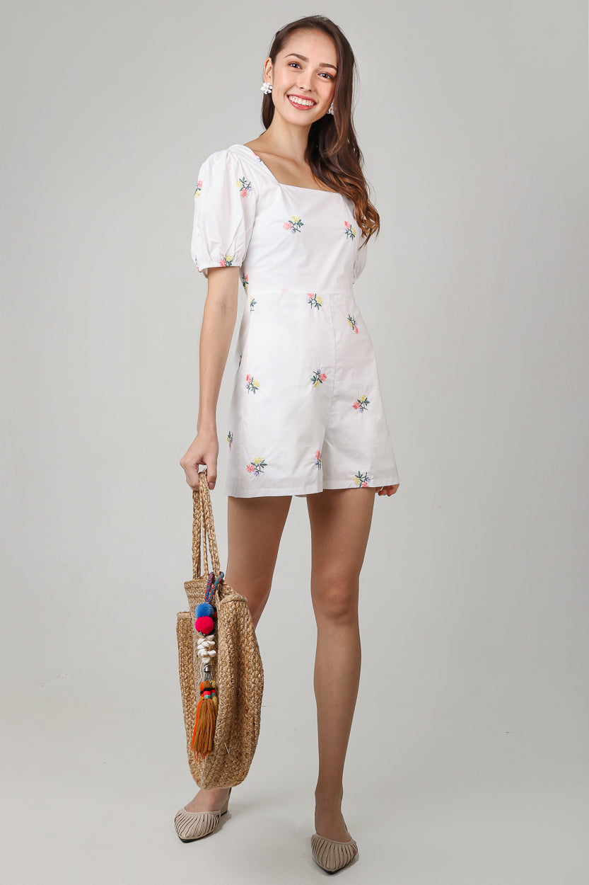 Floral Embroidery Romper in White