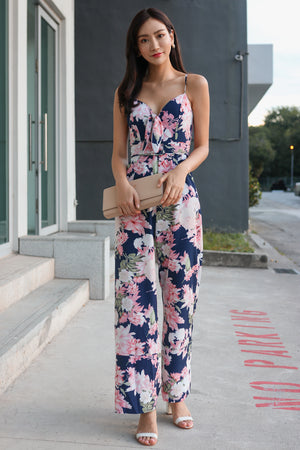 Spring Meadow Floral Jumpsuit in Navy