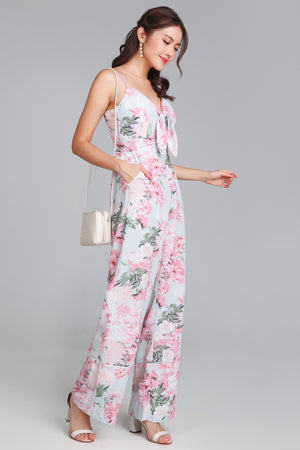 Spring Meadow Floral Jumpsuit in Tiffany