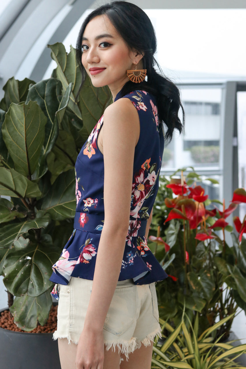 In Full Bloom Peplum Top in Navy