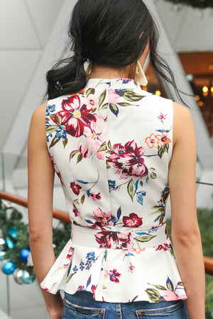 In Full Bloom Peplum Top in White