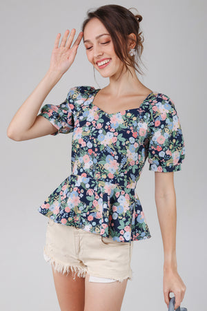 Wisteria Puff Sleeve Peplum Top in Navy