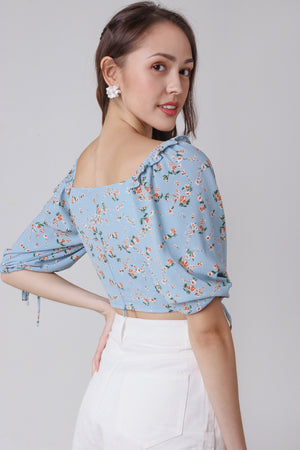 Bridget Floral Top in Blue