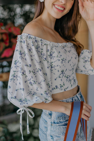 Bridget Floral Top in White