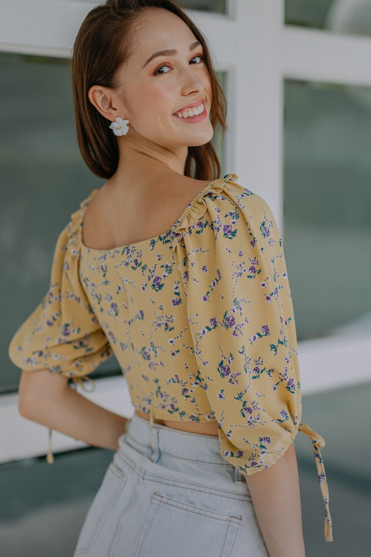 Bridget Floral Top in Yellow