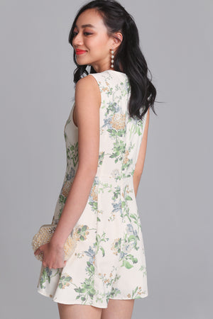 Floral Delight Cheongsam Romper in Cream