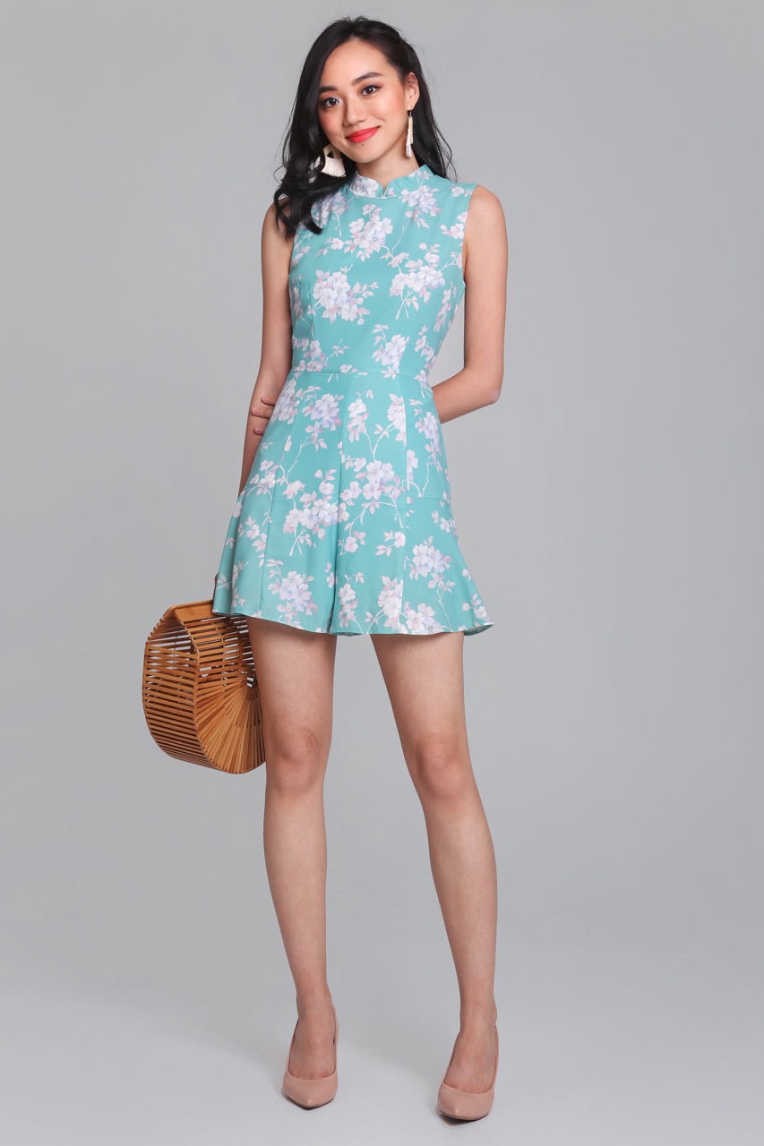 Floral Delight Cheongsam Romper in Mint