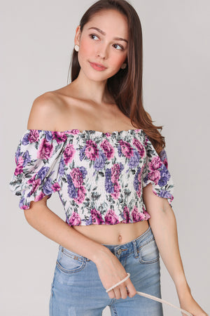 Restocked* Lisa Smocked Top in Violet
